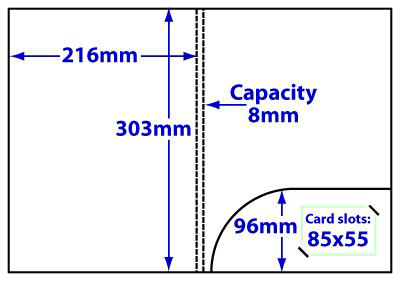 FA4_231_c9_b85x55 A4 8mm capacity folder with curved pocket and slots for 85x55 business card