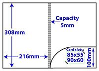 Diagram of product FA4_c5_183, A4 folder with 5mm capacity and rounded pocket