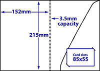 Diagram of product FA5_c3p5_369 A5 folder with 3.5mm capacity and triangular glue-fixed pocket